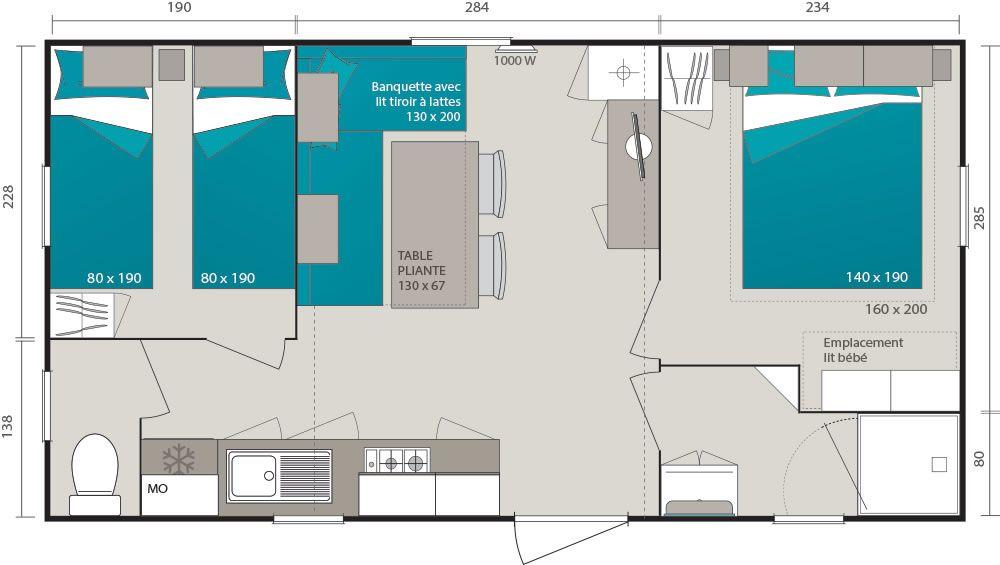 Amenagement mobil home chambre mobilhome luxe location - Amenagement interieur mobil home ...